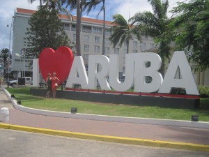 Oranjestad, Aruba- Marissa and I in front of the sign