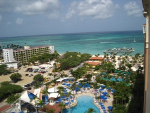 View from our room's balcony at the Marriott Surf Club Aruba.